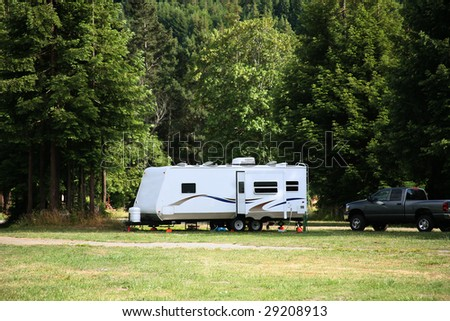 Camping with RV Trailer in the Redwood Forest