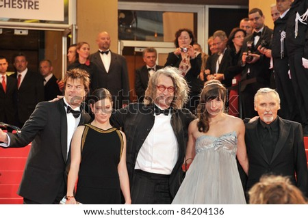 "Campino, Dennis Hopper, Giovanna Mezzogiorno, Wim Wenders & Milla Jovovich at premiere for ""The Palermo Shooting"" at the 61st Annual Cannes Film Festival. 5-24-08 Cannes, France. By: Paul Smith"