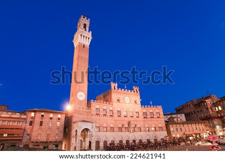 Campo Square and Mangia Tower, Siena, Italy - stock photo