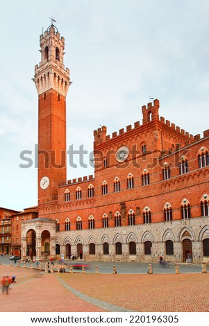 Campo Square and Tower in Siena, Italy - stock photo