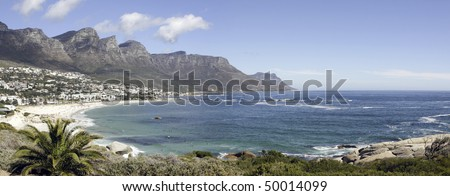 Camps Bay Beach near Cape Town, in the Western Cape Province of South Africa. - stock photo