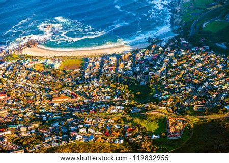 Camps Bay, Cape Town seen from a high angle - stock photo