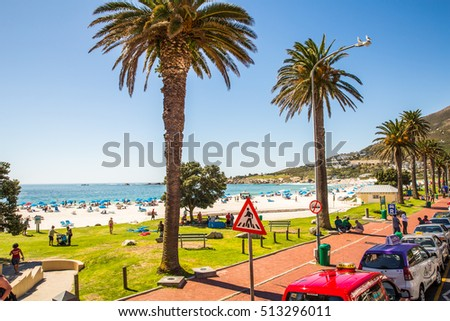 Camps Bay, South Africa - 29 JANUARY 2015: Enjoy the in Summer in Camps Bay - Cape Town
