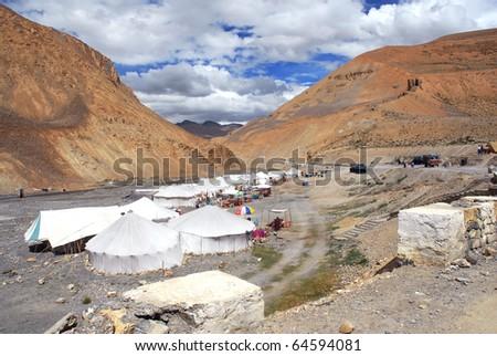 campsite in jammu kashmir ladakh state - stock photo