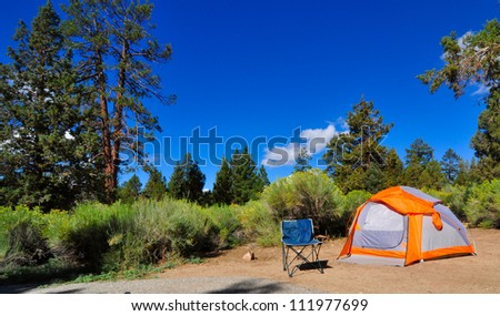 Campsite in the forest - stock photo