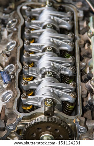 Camshaft close up, Four valve per cylinder system - stock photo