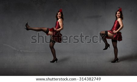 can can dance for a burlesque performer, dark background - stock photo
