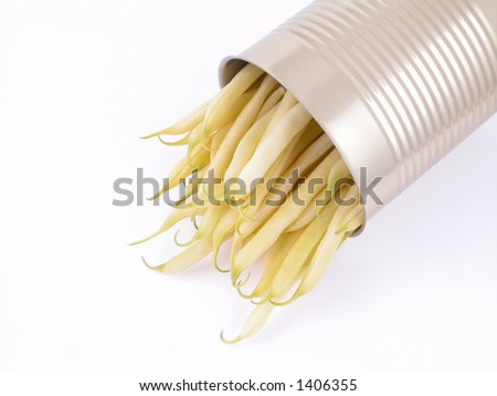 can full of string beans on white background