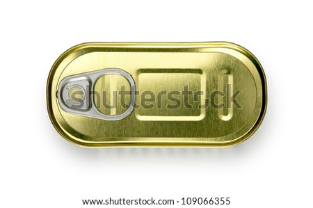 can of anchovies isolated on white background - stock photo