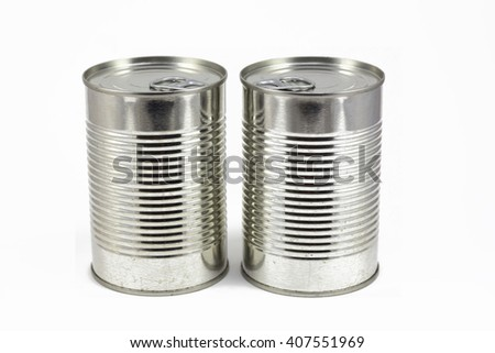 Can of food, metallic tin isolated in a white background - stock photo