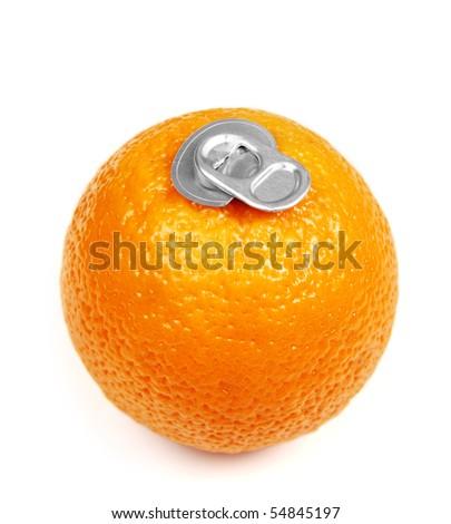 Can of fresh orange juice - stock photo