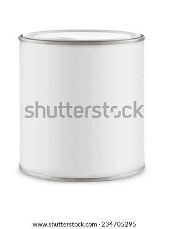 Can of paint on white background with white label for adding graphic - stock photo