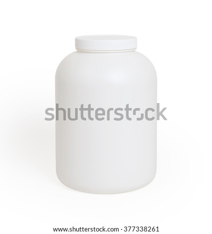 Can of protein or gainer powder isolated on white background - stock photo