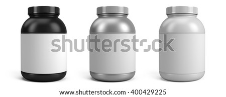 Can of protein or gainer powder with blank label isolated on white background. 3d rendering - stock photo