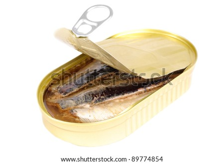 can of sardines in oil isolated on white