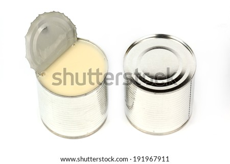 Can of sweetened condensed milk isolate on white background