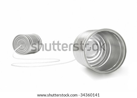 can phone isolated on white background - stock photo