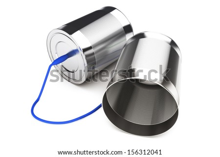 Can phone , simplicity in communication, obsolete or old technology concept. - stock photo