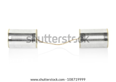 Can telephone isolated on white, clipping path included - stock photo