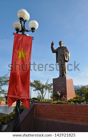 CAN THO - FEB 17: Statue of Vietnam's revered leader Ho Chi Minh (also called Uncle Ho) in the main square of Can Tho city, Mekong delta. On February 17, 2013, in Can Tho Vietnam