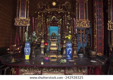 CAN THO, VIETNAM - JULY 24, 2012: Interior of chinese Ong Temple in Can Tho, Vietnam - stock photo