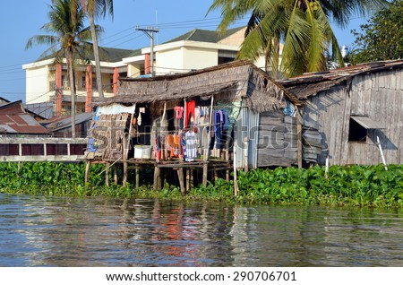 Can Tho, Vietnam. The old wooden houses on the Mekong river