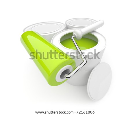 Can with a paint and roller. Isolated. 3D - stock photo