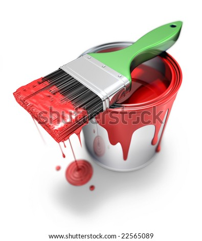 Can with brush - stock photo