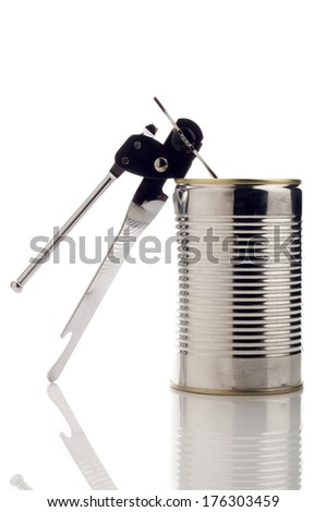 can with can-opener - stock photo