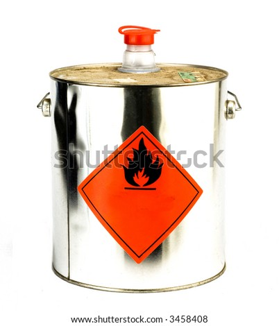 can with flammable content isolated on white - stock photo