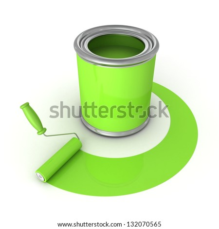 Can with green paint and roller brush - stock photo