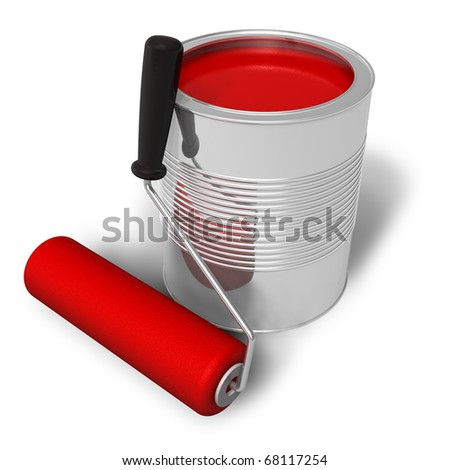 Can with red paint and roller brush - stock photo