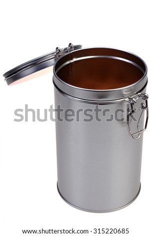can with the lid open on a white background - stock photo