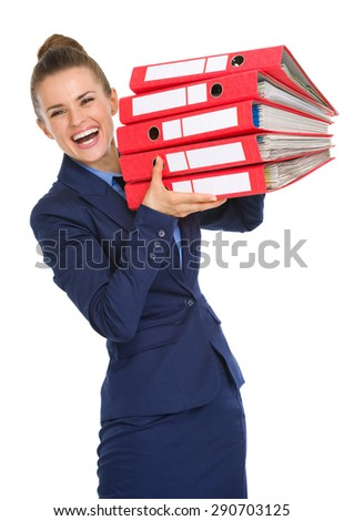 Can you believe it? All those months of hard work, one giant success, and it all fits into these files! - stock photo