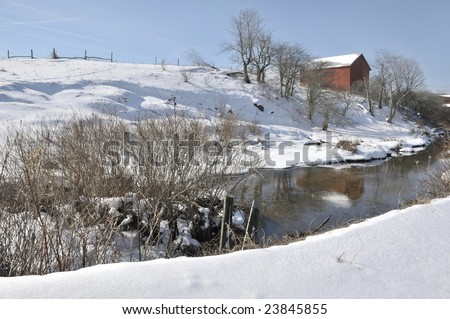 Canaan Valley WV Winter Red Barn Horizontal - stock photo
