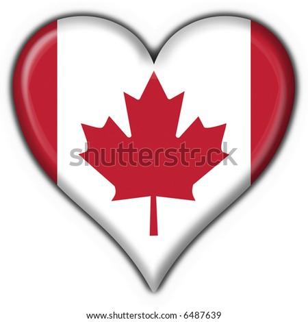 canada american button heart flag - stock photo