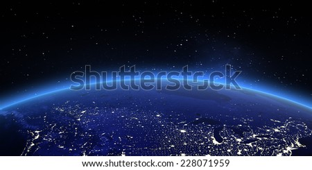 Canada and North USA. Elements of this image furnished by NASA - stock photo