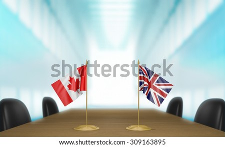 Canada and United Kingdom relations and trade deal talks 3D rendering - stock photo