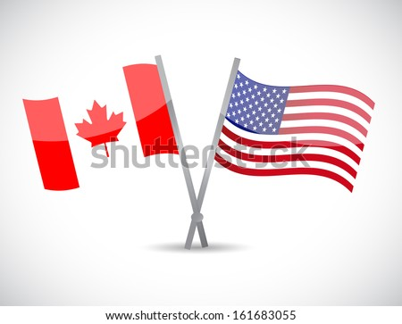 canada and us partnership concept illustration design over white - stock photo
