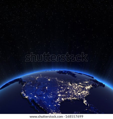Canada and USA city lights at night. Elements of this image furnished by NASA - stock photo