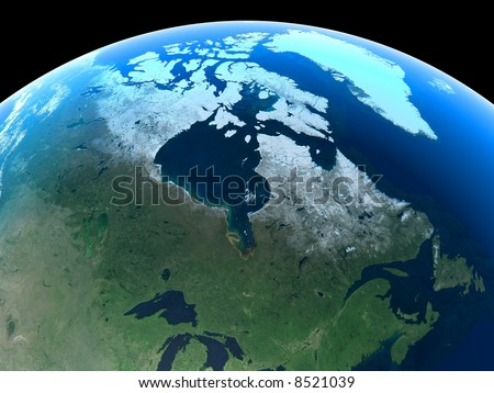 Canada as seen from Space - stock photo