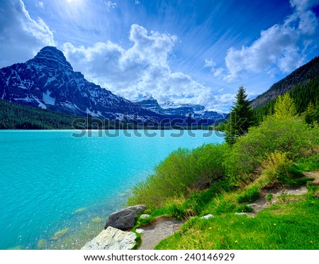 Canada Blue Cloudy Sky, Nature Landscape - stock photo