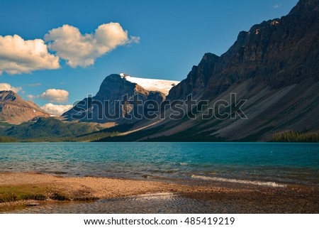 Canada blue water lake mountains snow landscape