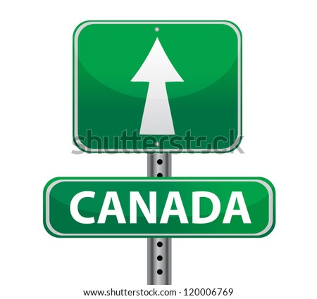 canada border sign illustration design over white
