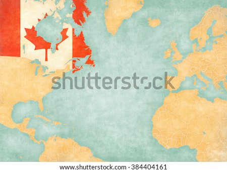 Canada (Canadian flag) on the map of North Atlantic Ocean. The Map is in vintage style and sunny mood. The map has soft grunge and vintage atmosphere, like watercolor painting on old paper.  - stock photo