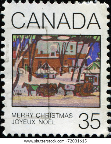 CANADA - CIRCA 1980: A greeting Christmas stamp printed in Canada, circa 1980