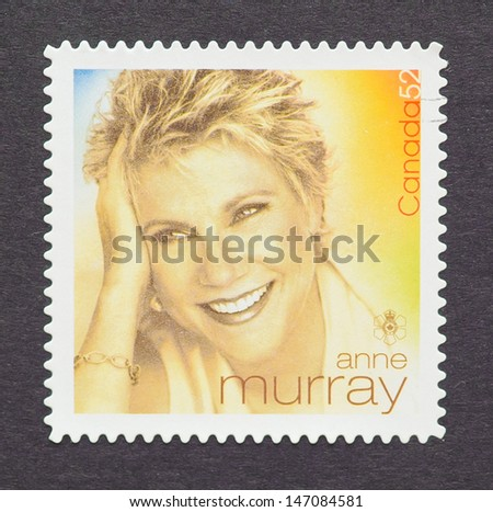 CANADA - CIRCA 2007: a postage stamp printed in Canada showing an image of Anne Murray, circa 2007.  - stock photo
