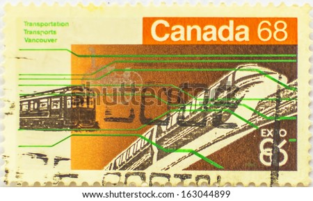 CANADA - CIRCA 1968: A stamp printed at Canada shows a train, circa 1968 - stock photo