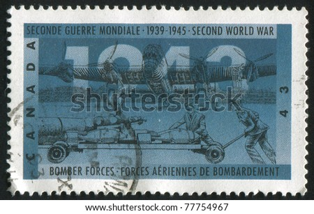 CANADA - CIRCA 1993: A stamp printed by Canada, shows Bomber forces, circa 1993 - stock photo