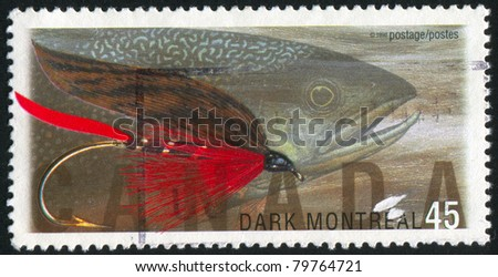 CANADA - CIRCA 1998: A stamp printed by Canada, shows Fly Fishing in Canada, Dark Montreal, brook trout, circa 1998
